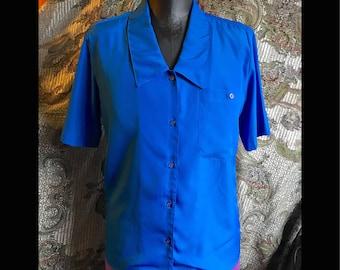 Just off cobalt short sleeve work blouse, wash & wear, sz 8