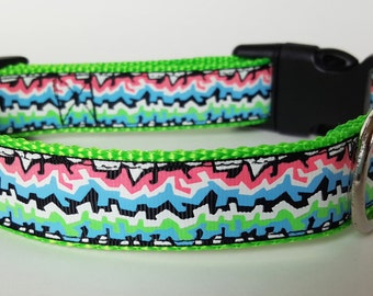 Glowing Graffiti Dog Collar / Glow in the Dark Dog Collar / 90s Dog Collar