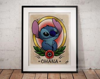 Stitch - Lilo and Stitch Traditional Tattoo Parlor Poster Print