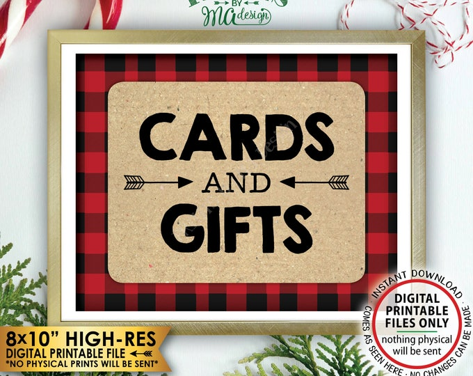 """Lumberjack Cards and Gifts Sign, Buffalo Plaid Gifts & Cards Sign, Red Checker Christmas Decorations, PRINTABLE 8x10"""" Instant Download Sign"""