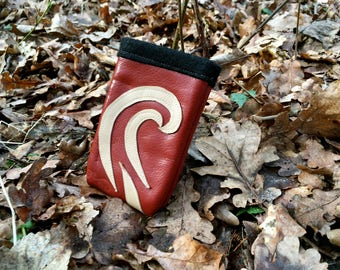 Real leather phone case (red and cream)
