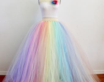 Pastel Rainbow Maxi Tulle Skirt, Puffy Rainbow Tutu, Alternative Wedding Skirt, Plus Size Tulle Skirt, Bridal Tulle Skirt, Wholesale