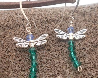 Teal Blue Dragonfly Crystal Earrings - Dragonflies, Crystal Earrings, New Beginnings, Change