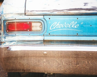 1966 Chevelle with Texture - Vintage Car - Vintage Wall Art - Retro - 8x12 -Bright Blue - Rust - Fine Art Photograph - Fpoe