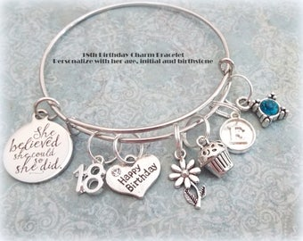 18th Birthday Gift for Daughter, Happy Birthday Charm Bracelet, Personalized Gift for Her, Gift for Her, Teenage Girl Gift, Happy Birthday
