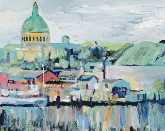 View of the Naval Academy, 13x19 Signed Large Print of Original Acrylic Painting