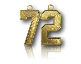 """Number 72 Jersey Style Sports Necklace Charm Pendant (0.8"""" Tall)  GOLD PLATED Football Baseball Basketball Soccer Lacrosse Hockey"""