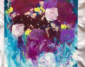 "Someone I once loved, a beautiful floral abstract painting on 16""x12"" canvas panel"