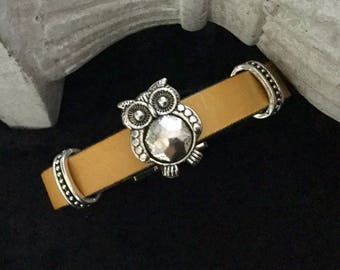 Yellow leather with a spends leather OWL bracelet