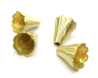 4 Raw Brass Cones  Findings 13x10mm 4 Pcs  G5136
