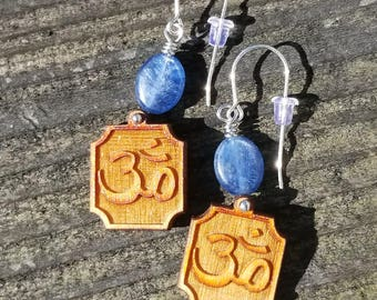 Handmade Earrings Featuring Blue Kyanite & Wooden Ohm