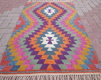 Small Vintage Turkish Kilim Rug,Door Mat,Tribal Rug,Floor Rug,Home Decor,Bedroom Rug 58,2x34,6 inches,Bath Mat 148 cm x 88 cm Antalya Kilim