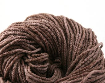 Hand Dyed Aran weight mini Empire Rambouillet Wool 213 yds 4oz Chocolate Malted
