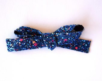Midnight Sky Glitter LARGE Bow Clip Photo Prop for Newborn Baby Little Girl Child Adult Summer Spring 4th of July Headwrap Pretty Bow Clip