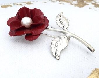 Vintage Red Rose Brooch Large Enamel Flower Pin Large Vintage Red Flower Brooch Big Rose with Pearl Brooch Silver Tone Pin Rose Red Brooch