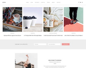 BONN - A Modern + Stylish Theme - WordPress Theme - Responsive Blog Theme - Feminine Wordpress Theme - Blog Template - WordPress Blog Theme