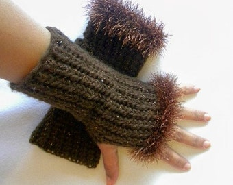 Crochet Fingerless Gloves with Eyelash Trim in a Sparkling Chocolate Brown