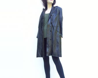 Black Leather Coat Black Trench Coat 80s Faux Fur Lined Leather Coat German Leather Zip Lining m