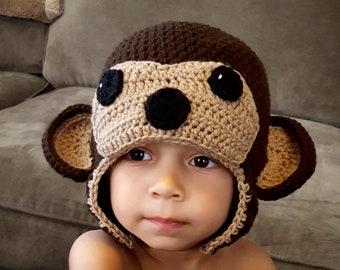 Monkey hat, crochet monkey hat,  monkey photo prop, curious george hat