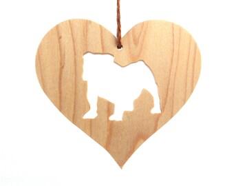 Wooden English Bulldog Ornament, Dog Breed Silhouette Heart Ornament, Bullie Christmas Ornament, Bulldog Decoration, Maple