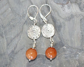 Orange Earrings, Sun Earrings, Southwestern Earrings, Aventurine Earrings, Natural Stone Earrings, Handmade Earrings, Bohemian Earrings