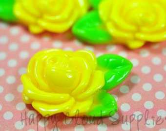 Yellow resin rose ...6pcs