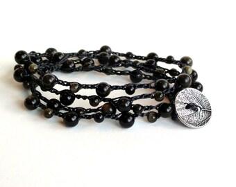 Golden Sheen Obsidian Crochet Wrap Bracelet
