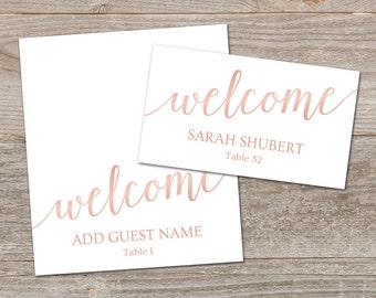 Rose Gold Place Card, Wedding Place Card Template //  Pink Place Cards Printable // Rose Gold Wedding Decor