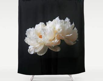 Peony Shower Curtain, Floral, Shabby Chic Shower Curtain, Cottage Decor, Country Chic, Boho Decor, Country Cottage, Black Shower Curtain