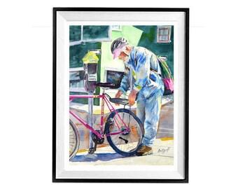 Vélo, Art original, art de vélo, vélo aquarelle, art de vélo, art de cyclisme, vélo rose, Berkeley, Biker, revue d'Art au sud-ouest, Muren 11 x 14