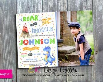 Dinosaur Photo Invitation, Dinosaur Birthday invitation, T-Rex Birthday invitations, Printable Birthday Invitations, Dino-Mite Invitation
