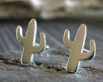 Cactus stud earrings. Sterling silver, 14k gold-filled or solid 14k gold. Minimalist southwest posts. Desert lover jewelry. Stocking Stuffer
