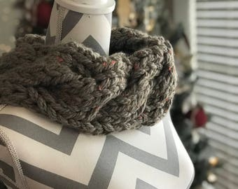 Knit Cable Chunky Cowl Neck warmer Tweedy Gray Handmade Gift READY TO SHIP