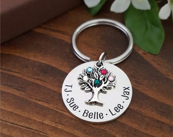 Birthstone Keychains For Mom | Gift For Mom | Personalized Keychain Gift For Mom | Family Tree Keychain | Gift For Grandma | Mom Keychains
