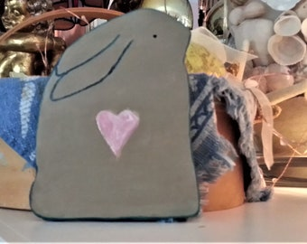 Bunny Rabbit with Pink Heart Clay Plaque, Wall Hanging, Handmade