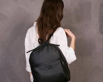 Black leather backpack,Leather rucksacks,Black Leather laptop bag,Vegan Rucksack,Black Simple Backpack,Small Backpack,Black womens backpack