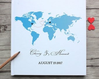 Personalized Mr&mrs long distance love white wedding guest book,custom state world map with name and date wedding guest book,map print book