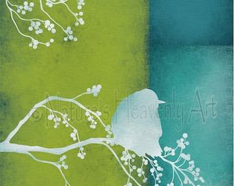 Bird on Branch Lime Green Wall Art Print, Turquoise Blue Green Nature Home Decor, Bird Art Print (28)