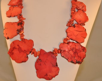 Red Turquoise Nuggets Slice Necklace
