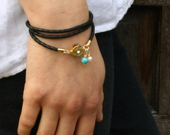 Black Wrap Bracelet / Womens Leather Bracelet / Leather Boho Bracelet / Kim
