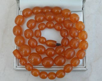 """Gorgeous 20.5"""" Antique Honey Baltic Amber Bead Necklace 31.18g"""