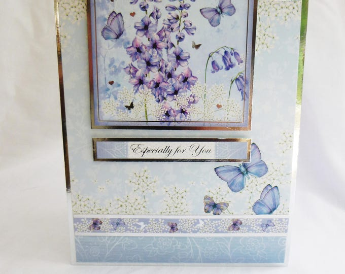 Blue Butterfly Birthday Card, Greeting Card, Silver and Blue, Female, Any Age, Mother, Sister, Daughter, Niece, Aunt, friend