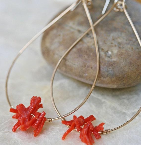 Gold Hoop Earrings, Coral Earrings, Coral Branch Earrings, Beachy Earrings, Ocean Earrings, Beachy Jewelry, Orange Earrings, Hammered Hoops
