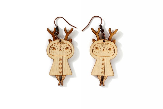 Deer earrings - lasercut maple wood - reindeer earrings - doe jewelry - fawn jewellery - forest animal - lasercutting