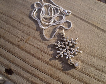 Swarovski Crystal  Snowflake Pendant Necklace