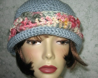 Crochet Pattern Brimmed Womens Hat With Art Yarn Trim Instant Download