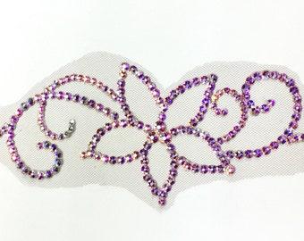 Double Swirl Flower Swarovski Crystal Hairpiece