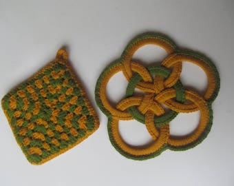Pot Holder and Trivet - Handmade vintage item - colors  green and  yellow/orange