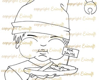 Digital stamp - Cookie stealing elf - 300dpi Jpeg file by Erica Bruton