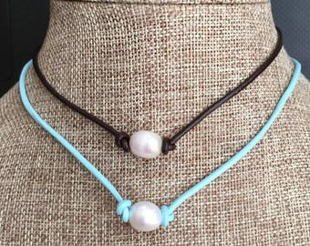 Single Pearl Leather Necklace Choker Rice Pearl Shape Freshwater Pearl Multi Colored Leather